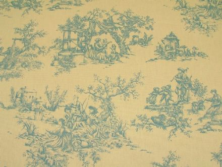 Designer W'wood Blue &Cream Toile de Jouy 100% Cotton Curtain /Upholstery Fabric